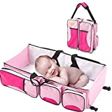 Diaper Bag Travel Bassinet Change Station [3 in 1] Multi-purpose Baby Diaper Tote Bed Nappy Infant Carrycot Crib Cot Nursery Portable Change Nursery Portable Bed for Baby Boy & Girl (Pink)