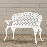 Belleze Outdoor Garden Bench Antique Cast Aluminum Backyard Furniture Patio Porch, White
