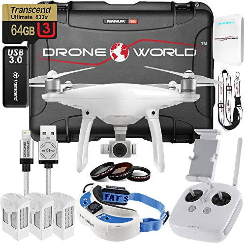 DJI-Phantom-4-FPV-Executive-Kit-With-Fat-Shark-FPV-Goggles-HDMI-Module-Installed-Custom-Made-Wheeled-Case-3-Batteries-Lens-Filters-64GB-U3-CardReader-More