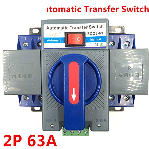 2P 63A 230V MCB Type Dual Power Automatic Transfer Switch ATS ATSE for Generator Photovoltaic PV System Battery CE Certificated