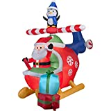 8 Ft Gemmy Airblown Inflatable Santa and Penguin in Helicopter Scene Holiday Christmas Decor