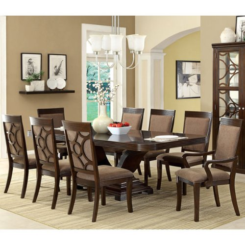 247SHOPATHOME IDF-3663T-9PC Dining-Room, 9-Piece Set, Brown