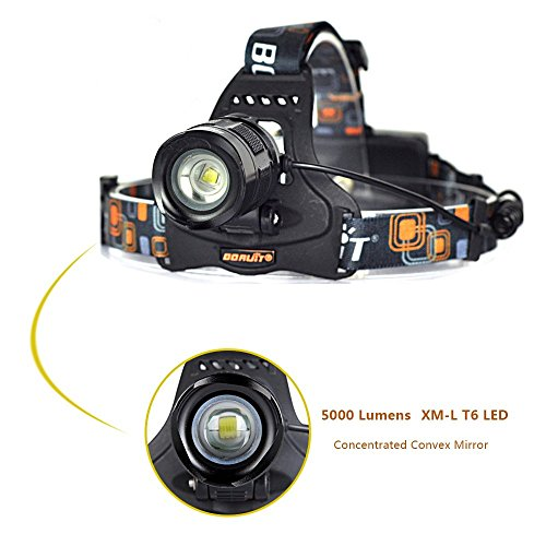 Aidisun 5000 Lumens Led Headlamp Waterproof Headlight Adjustable and Zoomable Head Light for Camping Biking Working Hunting Fishing running, Include 2 Rechargeable Batteries - 1 Watt Handheld Laser