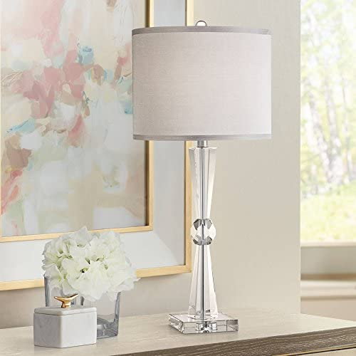 Linley Modern Table Lamp Art Deco Faceted Crystal Column Gray Drum Shade