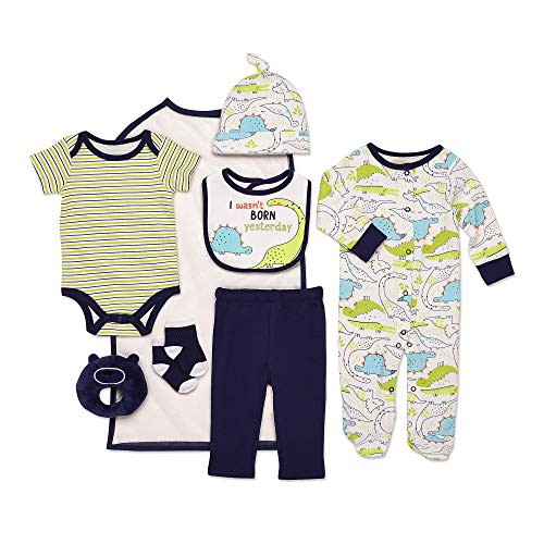 Mini B. by Baby Starters 9-Piece I Wasn't Born Yesterday Layette Gift Set Blue/Green/Black 0-3 Months for Sleep & Play with Bodysuit, Pants, More