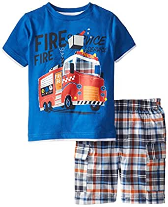 Kids Headquarters Little Boys' Tee with Plaid Shorts Fire Truck 4-7, Blue, 4