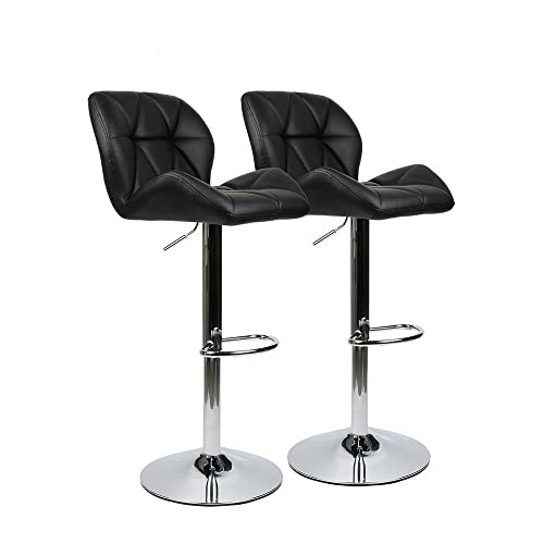 ELECWISH Bar Stools Set of 2 PU Leather Seat Chrome Base Swivel Dining Chair Counter Height Barstool Black