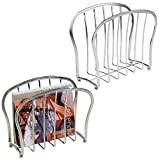 mDesign Decorative Modern Magazine Holder, Organizer - Standing Rack for Magazines, Books, Newspapers, Tablets in Bathroom, Family Room, Office, Den - Pack of 2, Chrome Wire