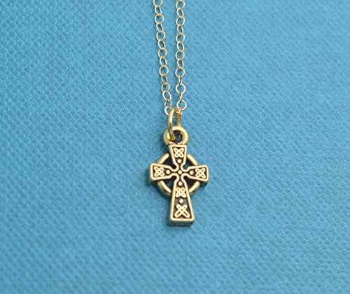 Little girls celtic cross necklace in gold plated pewter. Little girls jewelry. Christian gifts. New baby girl gift. Irish baby gift.
