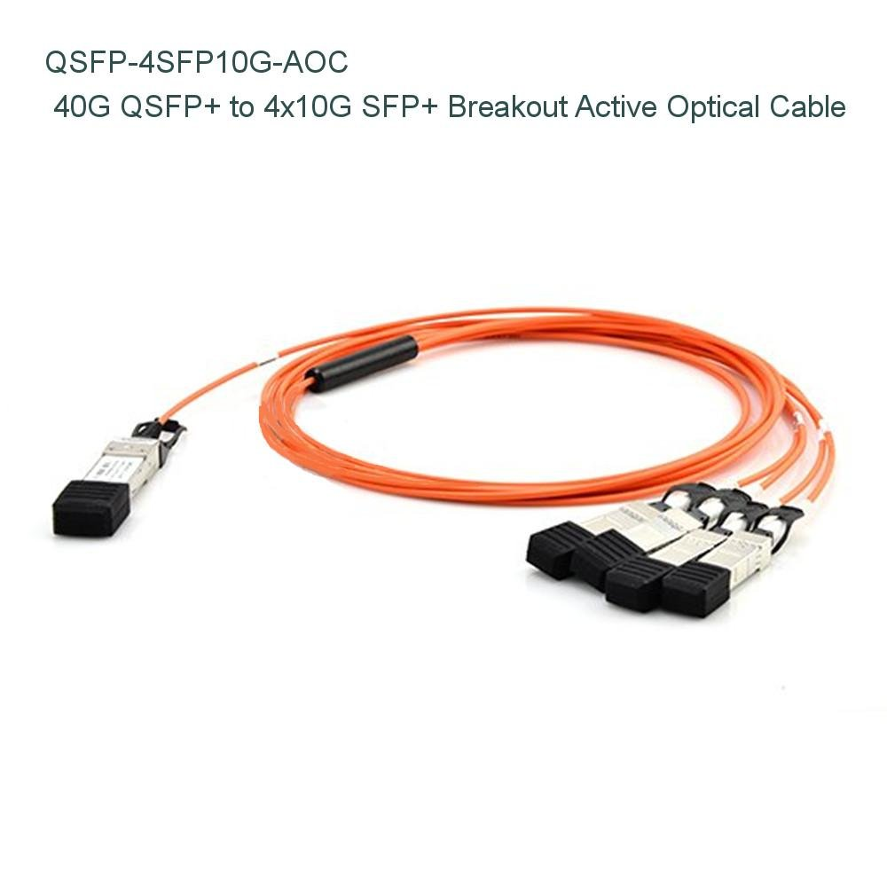 5 M ( 16ftBrocade 40 g-qsfp-4sfp-aoc-0501互換40 g Qsfp + to 4 x 10g SFP + Breakout Active Opticalケーブル – NETCNA B073X4SB5M