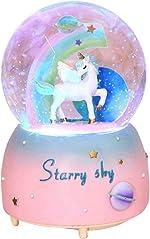 Unicorn Snow Globe for Kids, VECU Snow Globe with Music Perfect