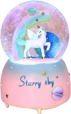 Unicorn Snow Globe for Kids, VECU Snow Globe with Music Perfect Unicorn Music Box for Girls, Granddaughters Babies Birthday ( Manual Snow Drift)