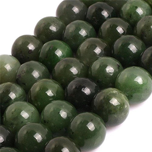 - JOE FOREMAN 12mm Green Canadian Jadeite Jade Semi Precious Gemstone Round Loose Beads for Jewelry Making DIY Handmade Craft Supplies 15