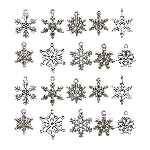iloveDIYbeads 80pcs Craft Supplies Antique Silver Christmas Snowflake Charms Pendants for Crafting, Jewelry Findings Making Accessory for DIY Necklace Bracelet -