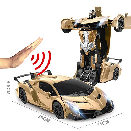 JIAAE Remote Control Car Gesture Sensing Transformers 1:12 Ratio Simulation Racing Car Model Great Gift for Boys and Girls,Gold by JIAAE (Image #2)