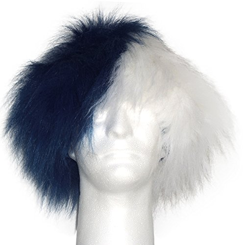 Sports Novelties Wig, Half Navy and Half White