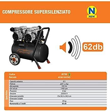 50lt Doppia testata 60706 EcoSilent Compressore a secco super silenziato Vinco 8t 24lt 50lt Ecologico ed innovativo