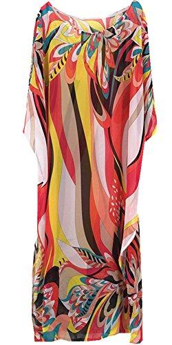 Moss Rose Beach Coverups Long Kaftans Chiffon Floral Print Swimwear Beach Dresses For - Sunglasses Through Clothes See