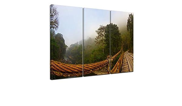 Bilderdepot24 Cuadros en Lienzo Puente en Niebla - Guatemala 150x90 cm 3 Piezas - Enmarcado Listo Bastidor Imagen. Directamente Desde el Fabricante: Amazon.es: Hogar