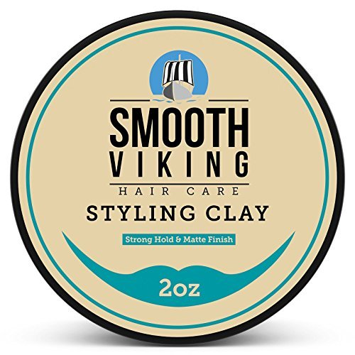 Hair Clay for Men, Best Pliable Molding Cream with Strong Hold & Matte Finish, Product for Modern Hairstyles- 2 OZ, Smooth Viking ()