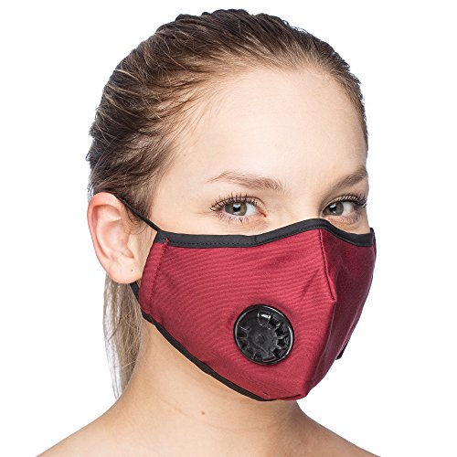 - One Mask + 6 Filters) Military Grade N99 Carbon Activated Anti Dust Face Mouth Cover Mask Respirator - Dustproof Anti-bacterial Washable - Reusable Respirator Comfy - Cotton Ge (N99 Mask - Dark Red)