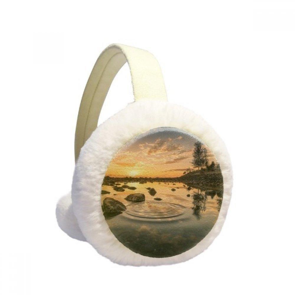 Ocean Sky Stone Water Science Nature Winter Earmuffs Ear Warmers Faux Fur Foldable Plush Outdoor Gift