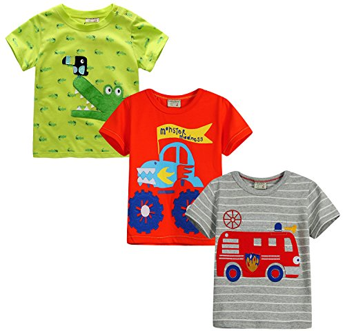 little bitty 3 Piece Pack Boy's Short Sleeve T-Shirts embroidered shirt &Tees