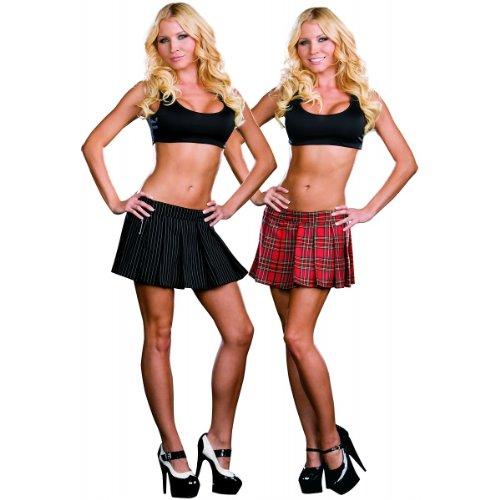 Reversible Skirt Spandex (Dreamgirl Women's Schoolgirl/Gangster Reversible Skirt, Multi, Small)