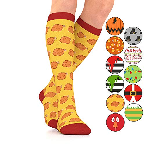 Go2Socks GO2 Holiday Compression Socks for Women Men Nurses Runners 15-20 mmHg (Medium) - Medical Stocking Maternity Travel-Best Performance Recovery Circulation Stamina (BakedT,Small)]()