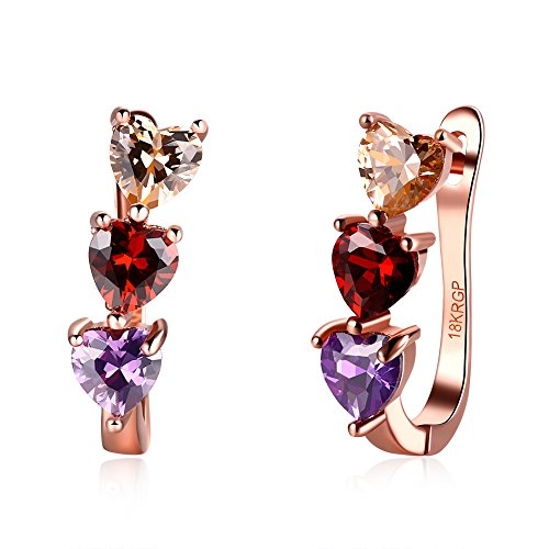 18k Rose Small (17MM 18K Rose Gold Plated Multicolor Cubic Zirconia Hoops Earrings for Women Teen Girls Hypoallergenic CZ Studs For Sensitive Ears (3 Heart Zirconia))