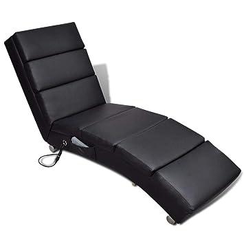 fzyhfa sillón de Masaje reclinable de piel Artificial negra ...