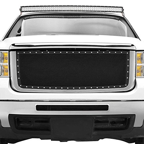 MPH Black Powder Coated Grille Bolt Over for Select 07 08 09 10 GMC Sierra 2500 3500 HD Models