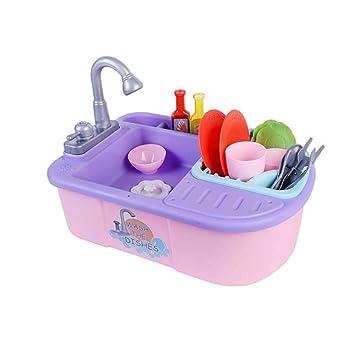 FXQIN Fregadero de Cocina para niños con Agua Corriente, Juguete ...