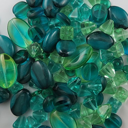 [BEAD CONCEPTS™ ½lb bulk baed Mix Czech Glass Beads in Assorted Sizes – for all your Jewelry making imaginations. - Tourmaline Green] (Glass Bead Mix Jewelry)