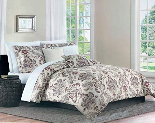 Max Studio Bedding 3 Piece King Size Bed Duvet Comforter Cover Set Cotton Damask Floral Medallion Pattern in Shades of Gray Taupe Purple Orange on Cream