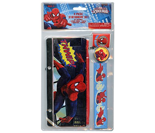 4pc Spiderman Stationery Set - Pencil Pouch, Ruler, Eraser, Pencil Sharpener (Spider Man Pencil Sharpener)