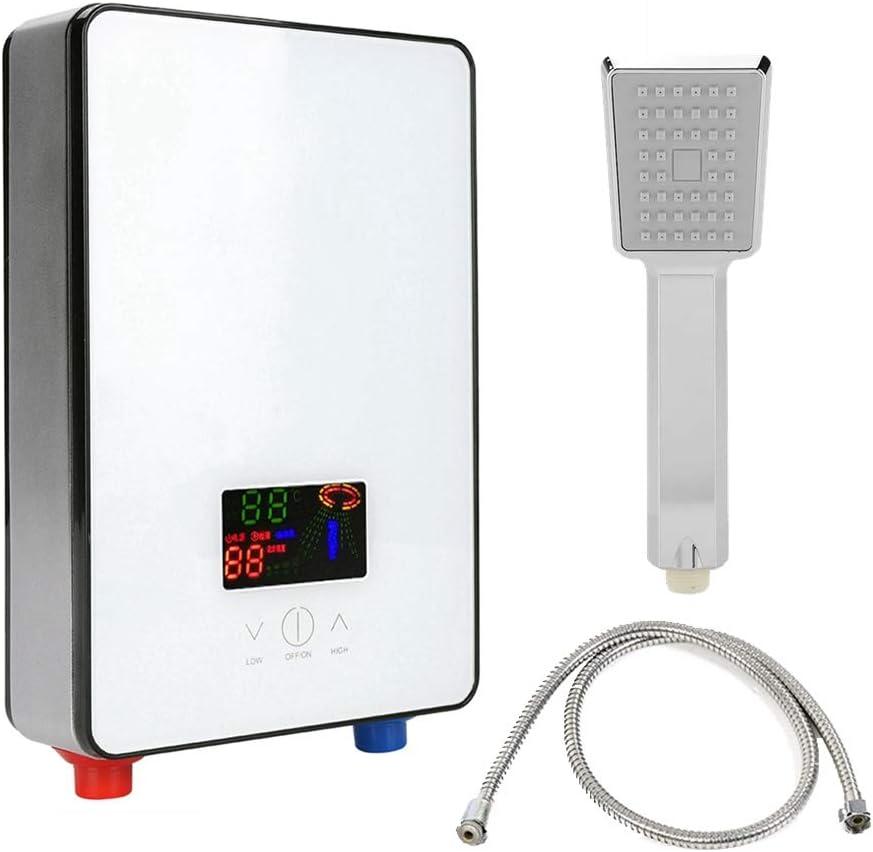 ASHATA Calentador de Agua sin Tanque, 220 V 6500 W Calentador de Agua instantáneo eléctrico con Pantalla LCD retroiluminada Se suministra con Manguera de desagüe para Ducha Baño Cocina