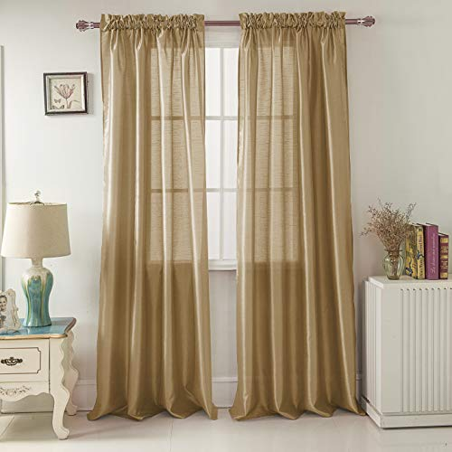 RT Designers Collection Nikki Faux Silk 54 x 84 in. Rod Pocket Curtain Panel, Gold (Gold Silk Panels Curtain)