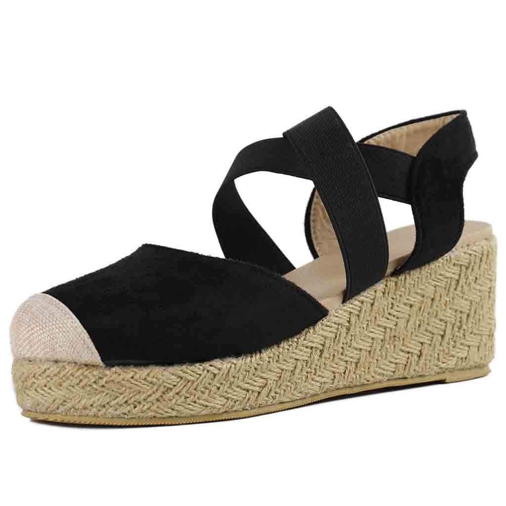 Kauneus  Womens Espadrille Platform Wedge Sandals Strappy Criss Cross Closed Toe Mid Heel Sandals Black