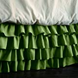 Bed&Linen New Collection 300 Thread Count 100% Egyptian Cotton Solid Moss Olympic Queen Multi Ruffle Bed Skirt with 28