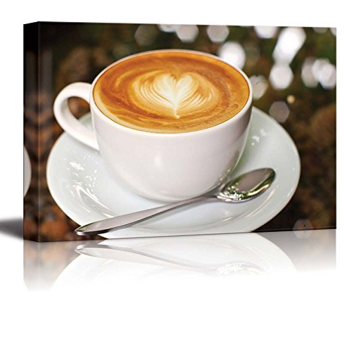 Cappuccino Latte Coffee with Heart Shape Wall Decor