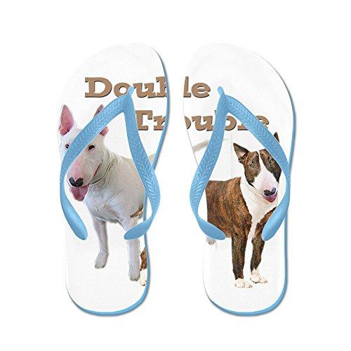 Cafepress Bull Terrier Double Trouble - Chanclas, Sandalias Thong Divertidas, Sandalias De Playa Caribbean Blue