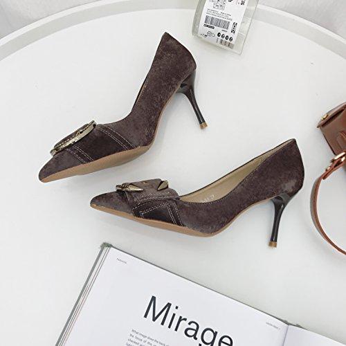 Ajunr Solo zapatos de punta mate aldabas 9cm unos zapatos de tacón de moda marrón salvaje zapatos de mujer y 38 Ocasional elegante,Transpirable,Sandalias Mujer 39