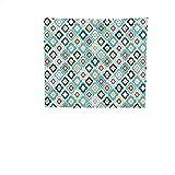 19 Inch High Ottoman QINYAN-HOME Tapestries Wall Hanging (19W x 19W Inch Bedroom Living Room Dorm Wall Hanging TapestryGeometric Decor Vintage Ottoman Floral Design Old Fashion Heraldic Tiles Artistic Image Aqua.