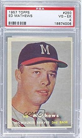 Amazoncom Eddie Mathews Psa Graded 4 Baseball Card 1957