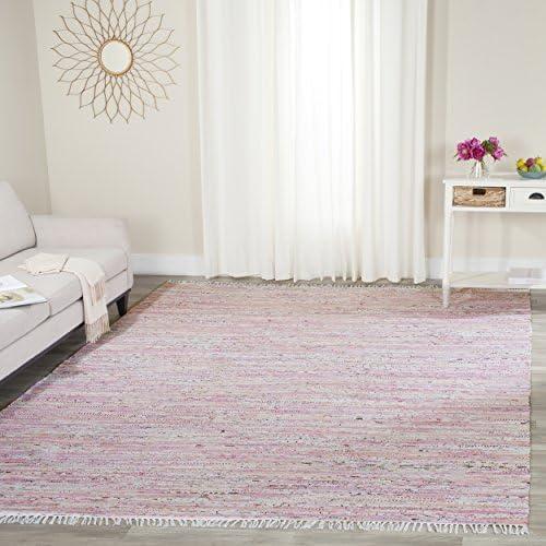 Safavieh Rag Rug Collection RAR125E Hand Woven Light Pink and Multi Cotton Area Rug 5' x 7'
