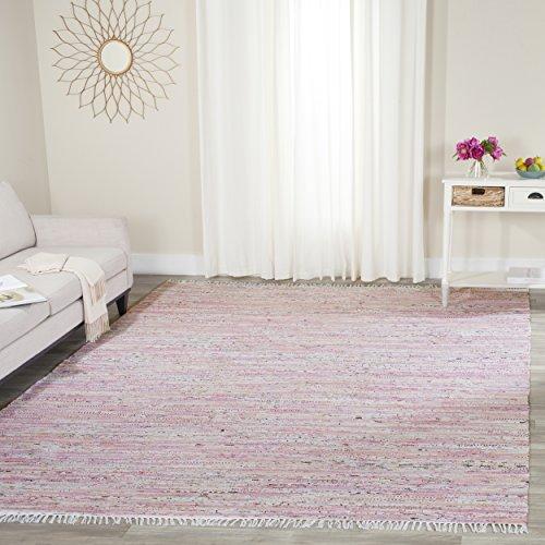 Safavieh Rag Rug Collection RAR125E Hand Woven Light Pink and Multi Cotton Area Rug 4 x 6