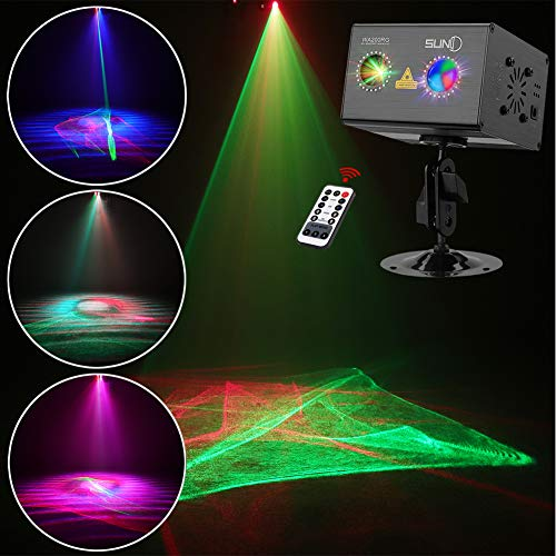 Laser Projector SUNY RG Gobos Projector Full Color Galaxy Projector LED Projection Aurora Laser Light Show Sound Activated DJ Laser Lights Machine Party Light Xmas Disco Holiday Christmas Event Show -