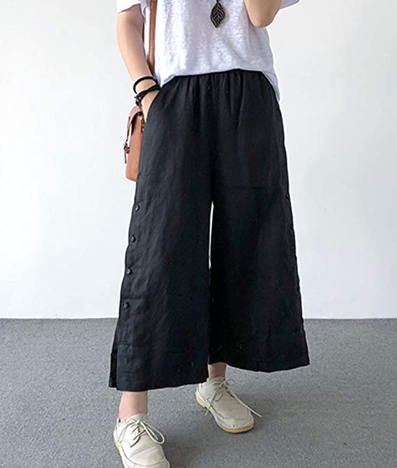 Loose fit Wide Leg Work Trousers High Waist Plus Summer Cool Jean Pants A589