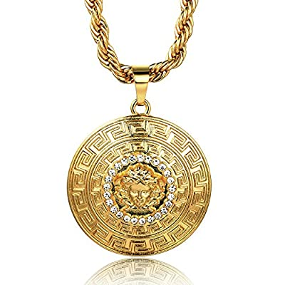 "Halukakah ? MEDUSA ? Men's 18k Real Gold Plated 3D Medusa Pendant Necklace with FREE Rope Chain 30"" Thick 5mm"